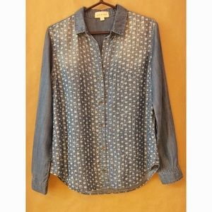 Cloth & Stone Patterned Chambray Button Up